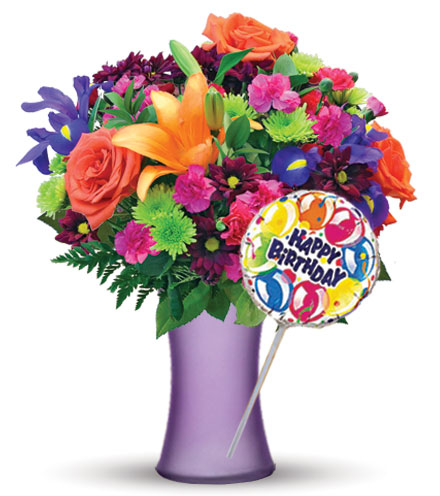 Vibrant Garden with Purple Vase & Birthday Balloon