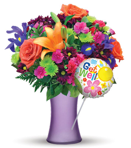 Vibrant Garden with Purple Vase & Get Well Balloon