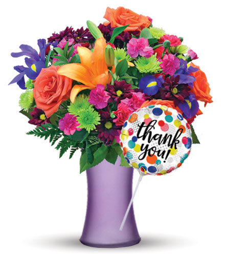 Vibrant Garden with Purple Vase & Thank You Balloon