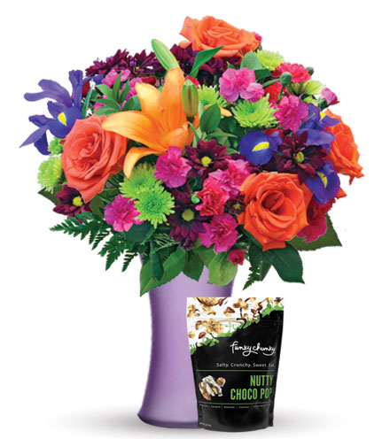 Vibrant Garden with Purple Vase & Chocolate Popcorn
