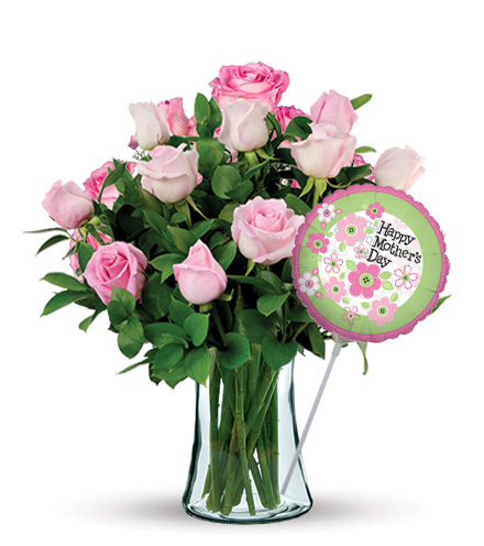 12 Pink Roses with Mother's Day Balloon
