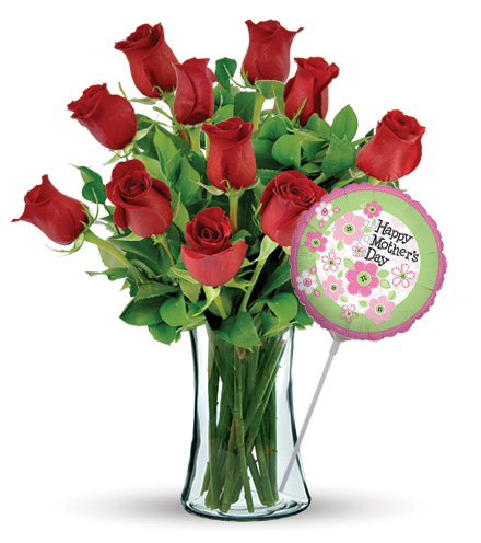 12 Red Roses with Mother's Day Balloon