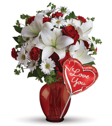 Be My Love Red Roses with Vase & Love Balloon