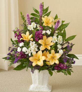 Sympathy Floor Basket - Purple, Peach & White