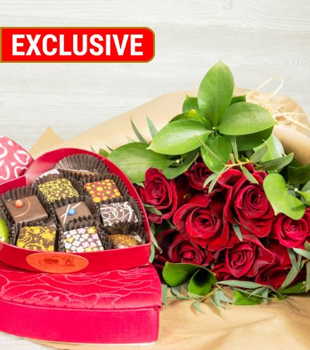 Bouquet di Amore & 10-pc Heart Box Chocolate