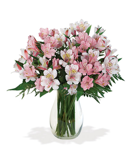 Pink & White Peruvian Lilies Bouquet