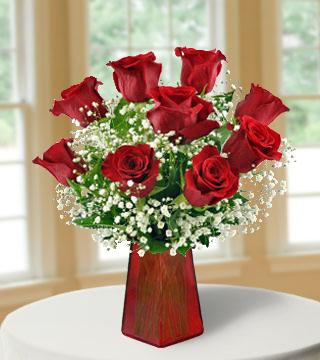 6 Red Roses with FREE Vase Bouquet