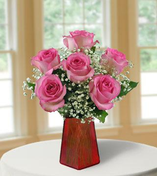 6 Pink Roses FREE Vase From  $67