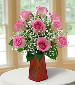 6 Pink Roses FREE Vase Bouquet