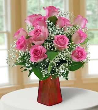 12 Pink Roses FREE Vase Bouquet