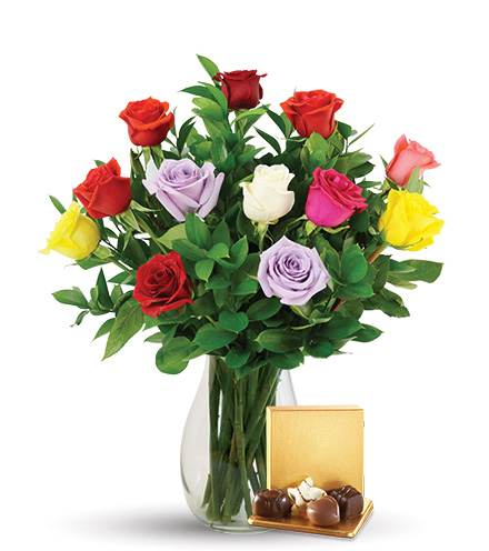12 Multi-Color Roses Combo Flower Delivery