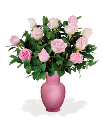 Pink Roses with Pink Vase Flower Delivery