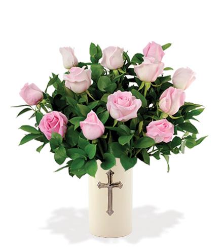 Sympathy Cross Vase - 12 Pink Roses Flower Delivery