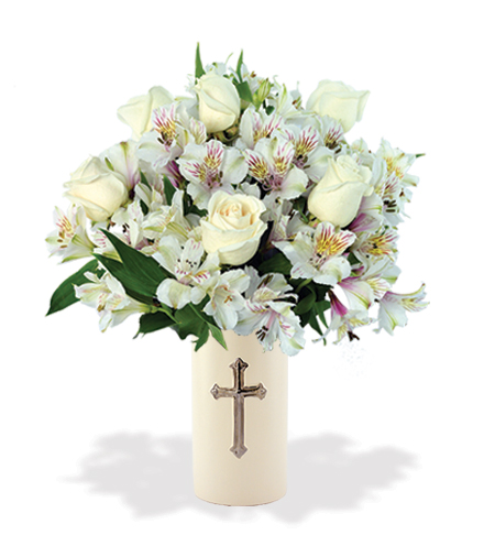 Sympathy Cross Vase White Roses And White Lilies Blooms Today