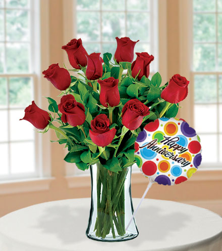 12 Red Roses Anniversary Special Flower Delivery