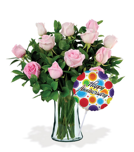 12 Pink Roses Anniversary Special Flower Delivery