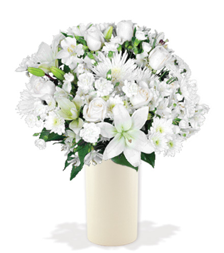 Eternal Blessings Bouquet With White Vase Great Blooms Today