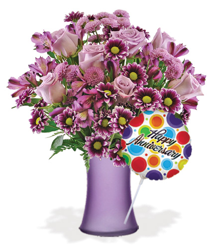 Purple Passion with Vase & Anniversary Balloon Flower Delivery