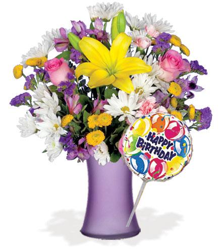 European Garden with Vase & Birthday Balloon Flower Delivery