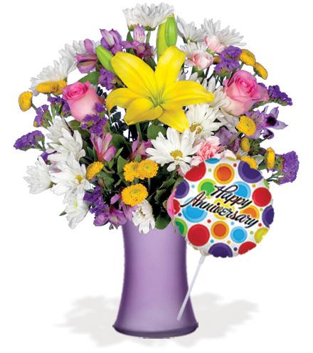 European Garden with Vase & Anniversary Balloon Flower Delivery