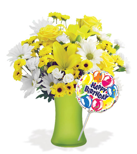 Delightful Sunshine with Vase & Birthday Balloon Flower Delivery