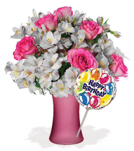 Shimmering Blush with Vase & Birthday Balloon Flower Delivery