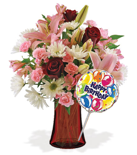 Sweet Sentiments with Vase & Birthday Balloon Flower Delivery