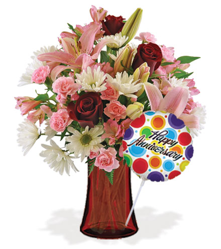 Sweet Sentiments with Vase & Anniversary Balloon Flower Delivery