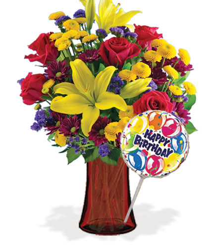 Radiant Charms with Vase & Birthday Balloon Flower Delivery