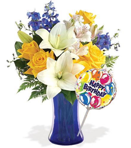 Oceanside Garden with Vase & Birthday Balloon Flower Delivery
