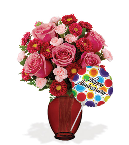 Blooming Heart with Vase & Anniversary Balloon Flower Delivery