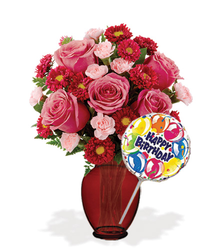 Blooming Heart with Vase & Birthday Balloon Flower Delivery