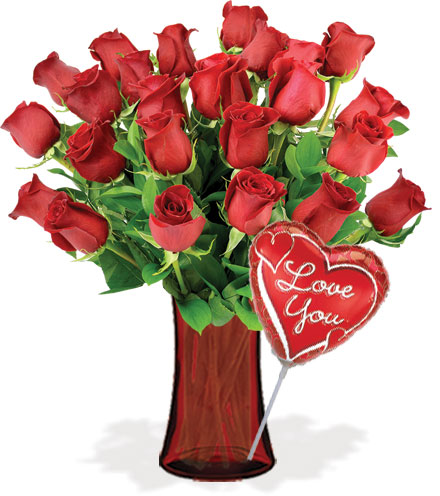 24 Red Roses with Vase & Love Balloon Flower Delivery