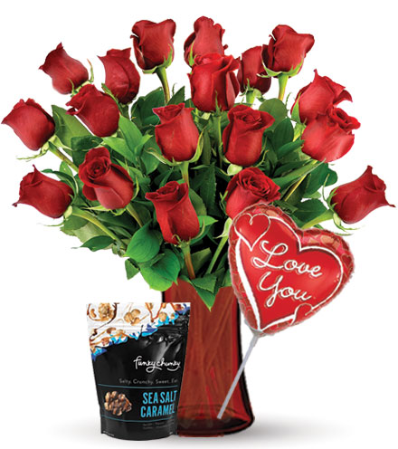 18 Red Roses with Love Balloon & Caramel Popcorn Flower Delivery
