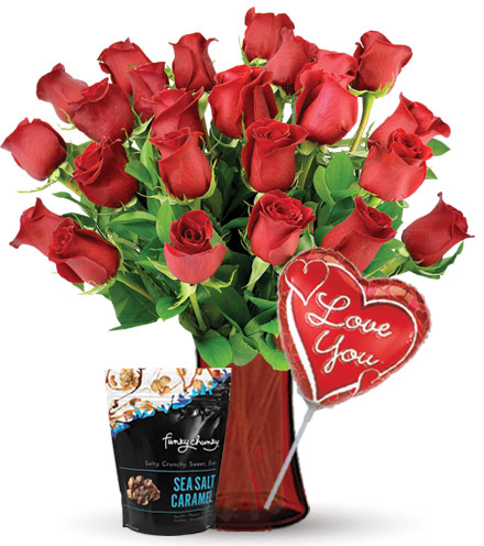 24 Red Roses with Love Balloon & Caramel Popcorn Flower Delivery
