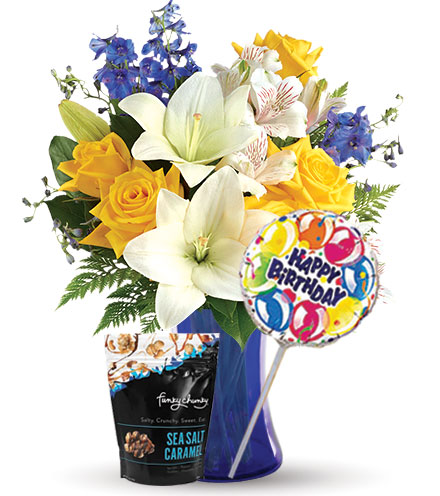 Oceanside Garden with Birthday Balloon & Caramel Popcorn Flower Delivery