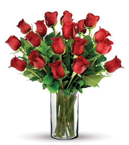 18 Red Long-Stem Roses Bouquet Flower Delivery