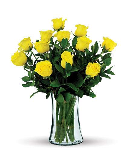 12 Yellow Long-Stem Roses Bouquet Flower Delivery