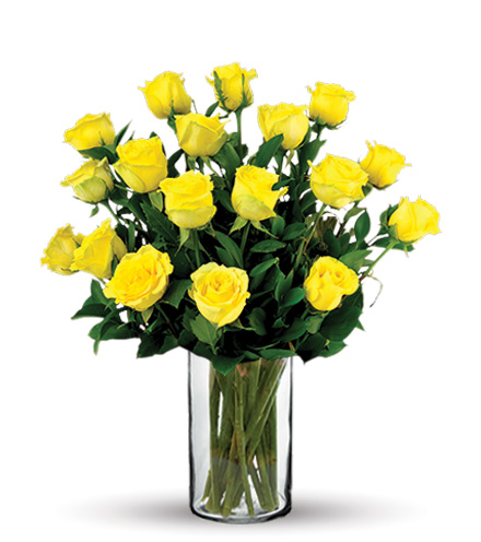 18 Yellow Long-Stem Roses Bouquet Flower Delivery