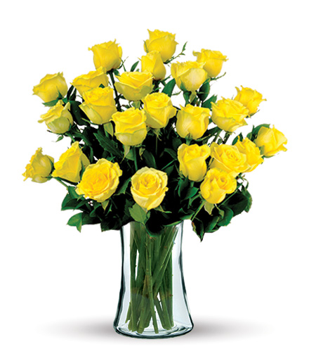 24 Yellow Long-Stem Roses Bouquet Flower Delivery