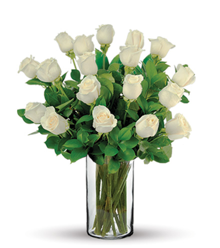 18 White Long-Stem Roses Bouquet Flower Delivery