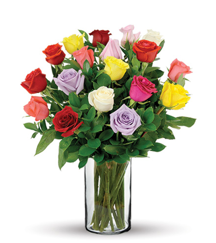 18 Multi-Color Long-Stem Roses Bouquet Flower Delivery