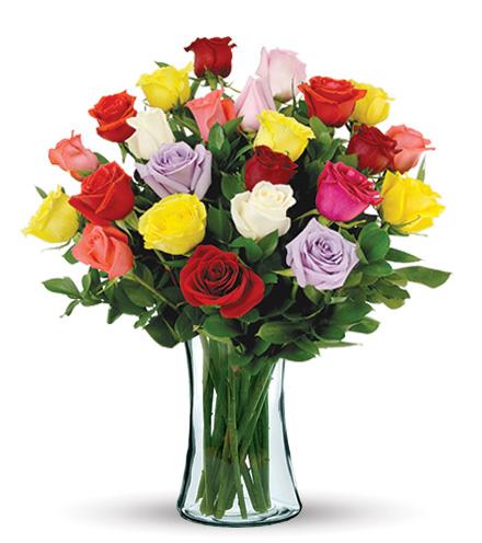 24 Multi-Color Long-Stem Roses Bouquet Flower Delivery