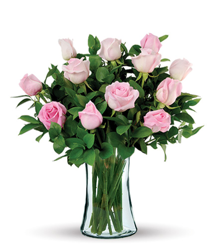 12 Pink Long-Stem Roses Bouquet Flower Delivery