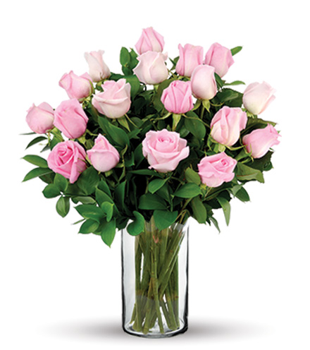18 Pink Long-Stem Roses Bouquet Flower Delivery